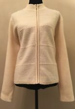 Karen Scott Womens Cardigan Size XL Ivory Zipper Front Long Sleeve 100% Wool