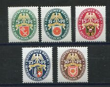 GERMANY REICH 1929 WINTER HELP COAT OF ARMS SCOTT B28-B32 PERFECT MNH