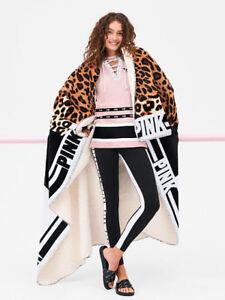 NWT Victoria's Secret PINK FRIDAY Super Soft SHERPA Blanket Leopard/Black/White