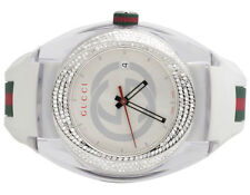 Custom New Mens White Gucci Sync 46MM Pave Set Diamond Watch YA137102 1.25 Ct