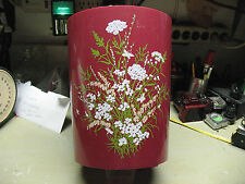 Waste Paper Basket Plastic Burgundy w/ Wildflowers Vintage Original