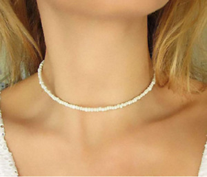 Necklace White Choker String Beaded Strand Women Jewelry Elegant Gift UK