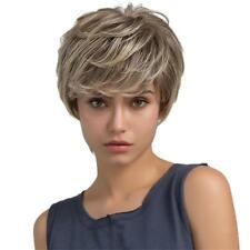 Natural Women Full Wig Short Layered Real Human Hair Wigs Cosplay Wig Brown