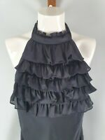 Monica Black Label Halterneck Frill Midi Dress Sz 10