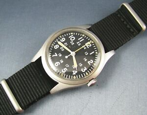 Vintage Hamilton Stainless  GG-W-113 US Military Hacking Mens Pilots Watch 1982