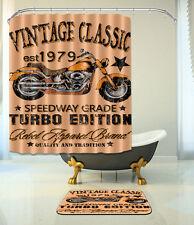 Motorcycle Bathroom Waterproof Fabric Shower Curtain 12 Hooks & Bath Mat 077