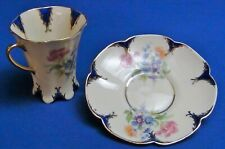 Vintage LENEIGE Porcelain Demitasse Teacup and Saucer Gold Trim Floral