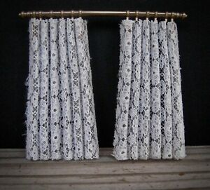 Lundby vintage miniature dollhouse lace curtains with rod