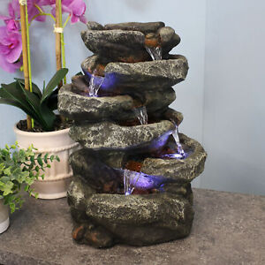 Sunnydaze 6 Tier Stone Falls Tabletop Indoor Water Fountain Feature w/ LED - 15""