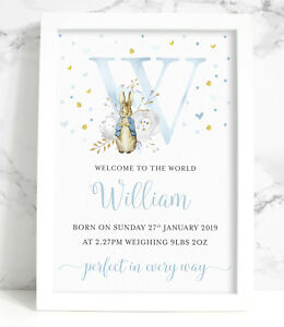 Personalised Peter Rabbit New Baby A4 Print, Pink or Blue, Floral Initial
