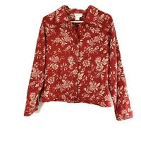 Coldwater Creek Womens Large Linen Blend Jacket Red Floral Long Sleeve Button Up