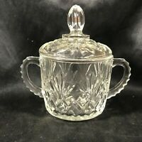 Vintage Anchor Hocking Clear Glass EAPC Pineapple Covered Sugar Bowl