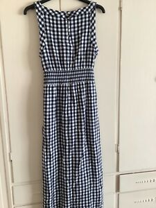 Fat face dress cotton mix check size 12, navy and white