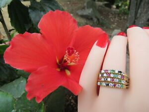 ❤️ Solid 18K Yellow Gold Multi Gems Ruby, Emerald Ring 4 Bands in One 10.5 *4.7g