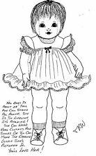 "28""CLOTH/SOFT SCULPTURE 9-12 mos.BABY DOLL w/SWIVEL HEAD PINAFORE DRESS PATTERN"