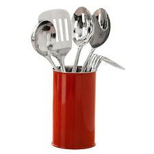 5 Piece Red Stainless Steel Kitchen Serving Utensil Tool Set & Storage Holder