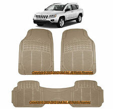 3PC ALL WEATHER BEIGE RUBBER FLOOR MATS SET for JEEP WRANGLER LIBERTY