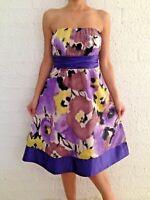 Women's Strapless Purple Floral Fit & Flare Evening Midi Dress Size 10-12-14-16