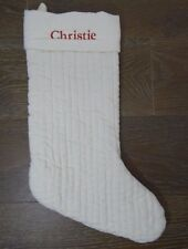 Pottery Barn Velvet Channel Quilted Stocking Christmas Holiday Ivory Christie