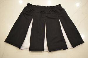 Augusta Black White Box Pleat Cheerleading Uniform Liberty Cheer Skirt Sm, M NEW