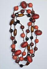 Collier sautoir - perles en bois & plastique - sans métal - rouge bijou nicklace
