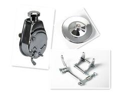 SBC Chevy SB Chrome Saginaw Power Steering Pump w/ Bracket & Pulley Kit