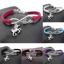 Fashion Women Lucky Unicorn Horse Infinity Love Leather Bracelet Bangles Jewelry