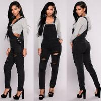Womens Denim Jeans Long Pants Ripped Overalls Straps Playsuits Jumpsuit Trousers