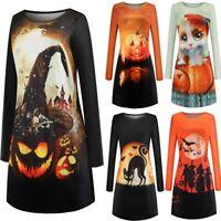 Womens Halloween Long Sleeve Swing Dress Pumpkin Cat Face Print Party Mini Dress