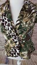 Cato Animal Print Short Sleeve Button Up Career Blazer Top Size Large (L17)
