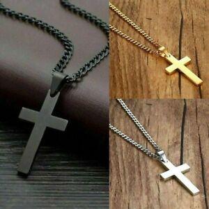 "Cross Pendant Necklace Stainless Steel  Crucifix Men Women Cuban w/23"" Chain"