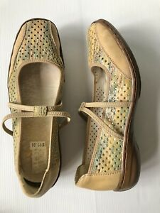 RIEKER ANTISTRESS Womens Tan Perforated Flat Comfort Shoes - Size 38