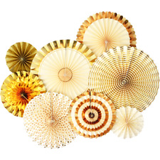 Gold Paper Fans 8 pcs Hanging Decor Birthday Party Bridal Shower Baby