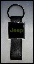 Porte-clés Acier/Simili Cuir logo JEEP (Fond Noir)