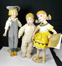 3 Franklin Heirloom 1985 Dolls PORCELAIN DUTCH PAINT / Fisk boy /MORTON SAL Girl