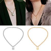 Alloy Lock Pendant Necklace Charms Padlock Long Chain Choker Jewelry Fashion