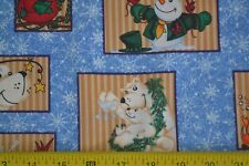 By 1/2 Yd, Christmas Winter Theme on Blue Snowflakes Quilting Cotton, SSI, M7862