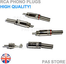 4x RCA Phono Plugs Chrome - 2 Pair Solder, Spring Connector Amp Wire Hi-Fi - UK