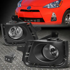 FOR 12-14 TOYOTA PRIUS C CLEAR LENS FRONT BUMPER FOG LIGHT/LAMPS W/BEZEL+SWITCH