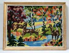 """Grande tapisserie / canevas encadré """"forêt"""" vintage kitsch 1960"""