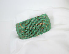 """Green and Gold Glass Seed Beads Beaded Bangle Bracelet. 1 ½"""" Wide. NWT"""