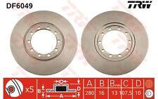 TRW Juego de 2 discos freno Trasero 280mm FORD TRANSIT DF6049