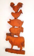 Vintage Wood Handmade Primitive country Cow Pig rooster totem pole plaque sign