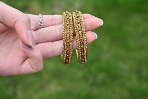 Kids Artificial Indian High quality 2 Piece Gold Kara Bangles With Stone