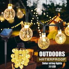 Fairy Lights String Crystal Ball Lights Garden Outdoor Lamp Solar Power Warm