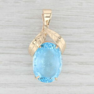 28ct Blue Topaz Carved Cameo Enhancer Pendant 14k Yellow Gold Solitaire