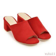 Women's Shoes Pumps Peep Toe Tassel Slipper Sandals Mules Chunky Heel Office CHI
