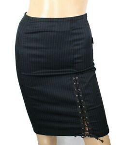 Anti Flirt Womens Skirt Black Pinestrip Stretch Size 1 (US 4)