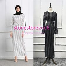 Muslim Stripe Maxi Dress Trumpet Sleeve Abaya Long Skirt Robe Gowns Tunic Arab