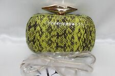 NEW! NWT! DIANE VON FURSTENBERG Flirty Lips Electric Lime Minaudiere Clutch $345